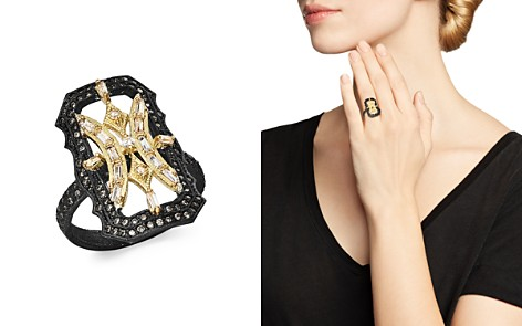 Armenta 18K Yellow Gold & Blackened Sterling Silver Old World White Sapphire & Champagne Diamond Scalloped Ring - Bloomingdale's_2