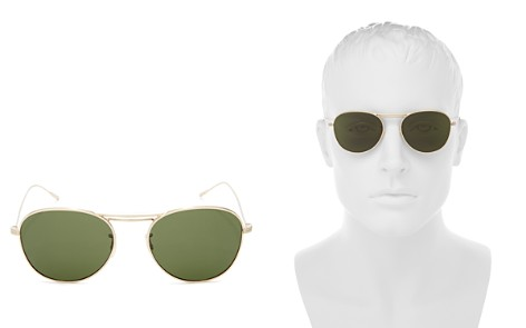 Oliver Peoples Cade Round Aviator Sunglasses, 52mm - Bloomingdale's_2