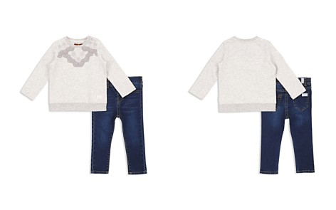 7 For All Mankind Girls' Embroidered Sweatshirt & Skinny Jeans Set - Baby - Bloomingdale's_2