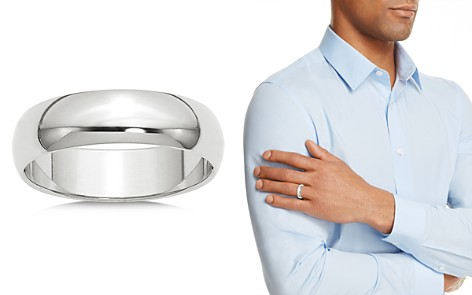 Bloomingdale's Men's 6mm Half Round Band Ring in 14K White Gold - 100% Exclusive _2