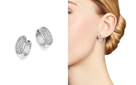Bloomingdale's Diamond Domed Huggie Hoop Earrings in 14K White Gold, 0.60 ct. t.w. - 100% Exclusive _2
