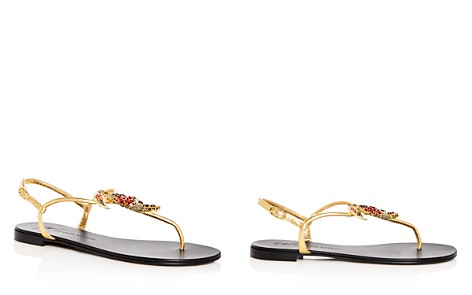 Giuseppe Zanotti Women's Toucan Embellished Leather T-Strap Sandals - Bloomingdale's_2
