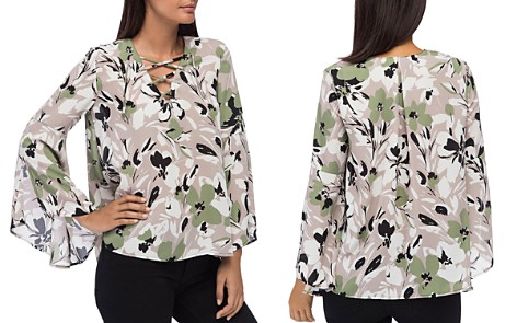 B Collection by Bobeau Dawn Floral-Print Bell-Sleeve Blouse - Bloomingdale's_2