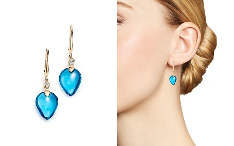 Olivia B 14K Yellow Gold Swiss Blue Topaz Cabochon & Diamond Drop Earrings - 100% Exclusive - Bloomingdale's_2