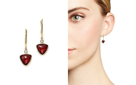Olivia B 14K Yellow Gold Geometric Garnet Cabochon & Diamond Drop Earrings - 100% Exclusive - Bloomingdale's_2