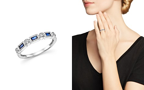 Bloomingdale's Blue Sapphire & Diamond Band Ring in 14K White Gold - 100% Exclusive_2