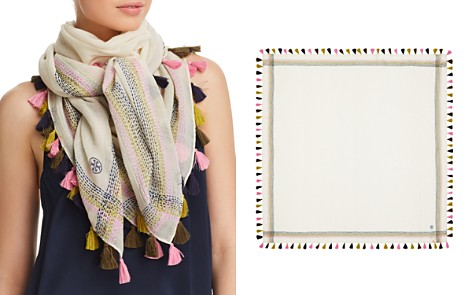 Tory Burch Embroidered Oversized Square Scarf - Bloomingdale's_2