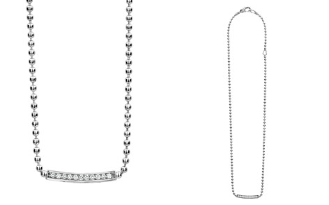 "LAGOS Sterling Silver Caviar Spark Diamond Bar & Ball Chain Necklace, 16"" - Bloomingdale's_2"