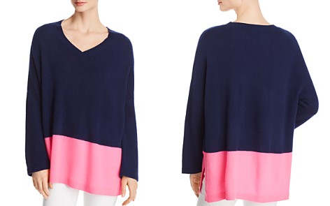 C by Bloomingdale's Color-Block Lightweight Cashmere Sweater - 100% Exclusive _2