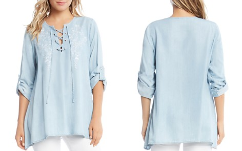 Karen Kane Floral Embroidered Lace-Up Chambray Top - Bloomingdale's_2