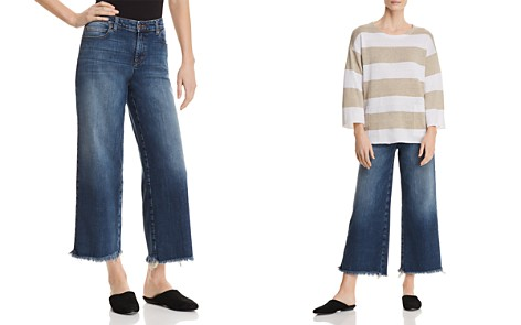 Eileen Fisher Petites Frayed Wide-Leg Crop Jeans in Aged Indigo - Bloomingdale's_2