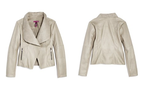 AQUA Girls' Faux-Leather Draped Open-Front Jacket, Big Kid - 100% Exclusive - Bloomingdale's_2