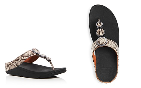 FitFlop Women's Halo Embellished Snake Embossed Leather Platform Thong Sandals - Bloomingdale's_2