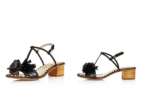 Pour La Victoire Women's Julie Nubuck Leather & Raffia T-Strap Block Heel Sandals - Bloomingdale's_2