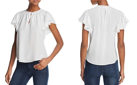 Rebecca Taylor Lace-Trimmed Silk Top - Bloomingdale's_2