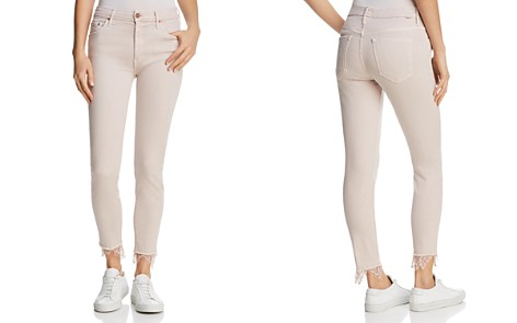 MOTHER Looker Dagger Lace-Trim Ankle Skinny Jeans in Blush - Bloomingdale's_2