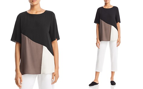 Eileen Fisher Petites Silk Color Block Top - Bloomingdale's_2