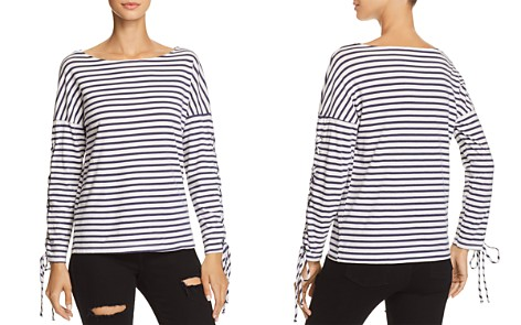 Monrow Lace-Up Sleeve Striped Tee - Bloomingdale's_2