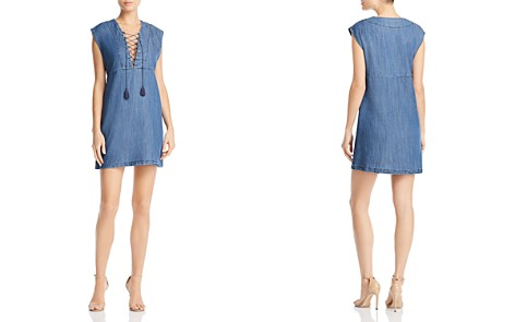 AQUA Lace-Up Chambray Dress - 100% Exclusive - Bloomingdale's_2
