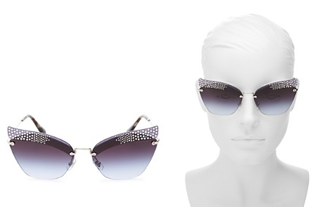 Miu Miu Women's Embellished Cat Eye Sunglasses, 63mm - Bloomingdale's_2