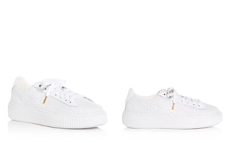 PUMA Women's Basket Perforated Leather Lace Up Platform Sneakers - Bloomingdale's_2
