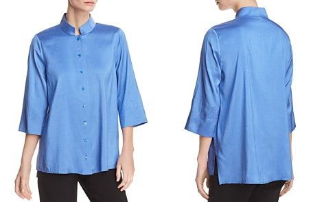 Eileen Fisher Petites Stand-Collar Silk Top - Bloomingdale's_2