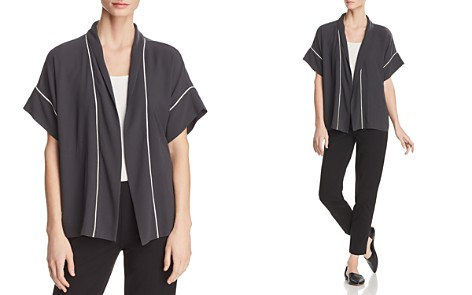 Eileen Fisher Piped Silk Short-Sleeve Kimono - 100% Exclusive - Bloomingdale's_2