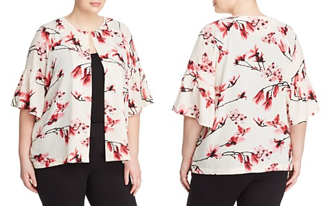 B Collection by Bobeau Curvy Ash Floral Bell Sleeve Jacket - Bloomingdale's_2