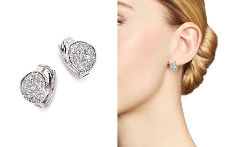 Bloomingdale's Diamond Cluster Oval Huggie Earrings in 14K White Gold, 0.60 ct. t.w. - 100% Exclusive _2