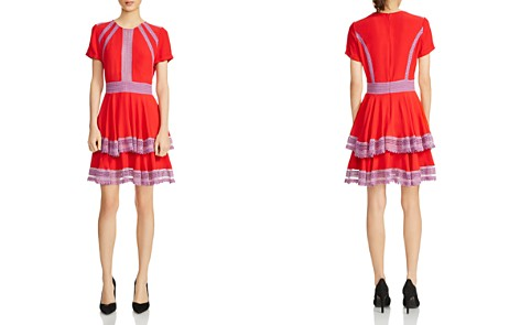 Maje Raglia Tiered Lace-Inset Dress - Bloomingdale's_2