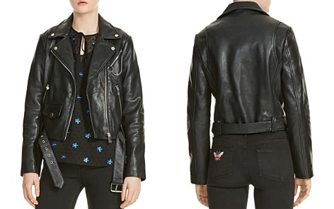 Maje Bassung Belted Leather Motorcycle Jacket - Bloomingdale's_2