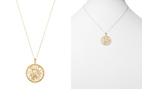 """Bloomingdale's Beaded Circled Pendant Necklace in 14K White & Yellow Gold, 18"""" - 100% Exclusive _2"""