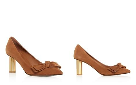 Salvatore Ferragamo Women's Suede Flower Heel Pumps - Bloomingdale's_2