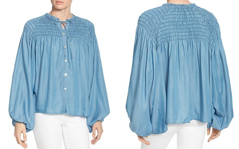 CATHERINE Catherine Malandrino Julie Smocked Chambray Poet Blouse - Bloomingdale's_2