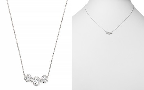 Bloomingdale's Diamond Three Stone Pavé Detail Necklace in 14K White Gold, 0.40 ct. t.w. - 100% Exclusive _2
