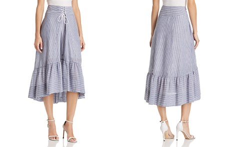 T Tahari Irena Striped High/Low Midi Skirt - Bloomingdale's_2