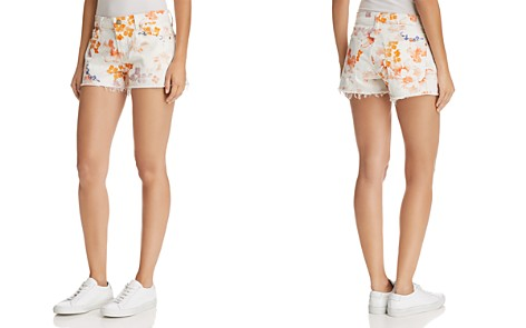 7 For All Mankind Floral Print Cutoff Denim Shorts in Loft Garden - Bloomingdale's_2