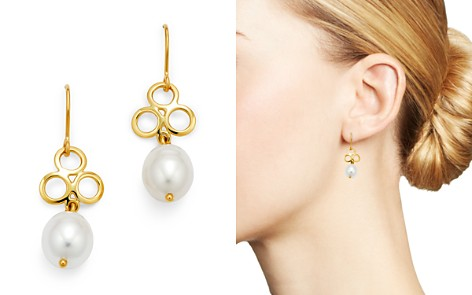 Bloomingdale's Cultured Freshwater Pearl & Triple Ring Drop Earrings in 14K Yellow Gold - 100% Exclusive _2
