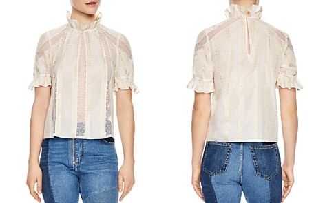 Sandro Ramia Embroidered Lace-Inset Top - Bloomingdale's_2