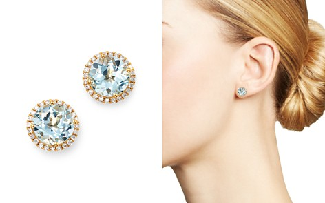 Kiki McDonough 18K Yellow Gold Grace Round Blue Topaz & Diamond Earrings - Bloomingdale's_2