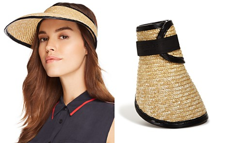 rag & bone Packable Leather-Trim Straw Visor - Bloomingdale's_2