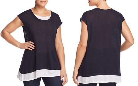VINCE CAMUTO Plus Slub Linen Layered-Look Colorblock Tee - Bloomingdale's_2