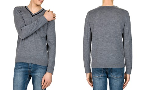 The Kooples Contrast V-Neck Sweater - Bloomingdale's_2