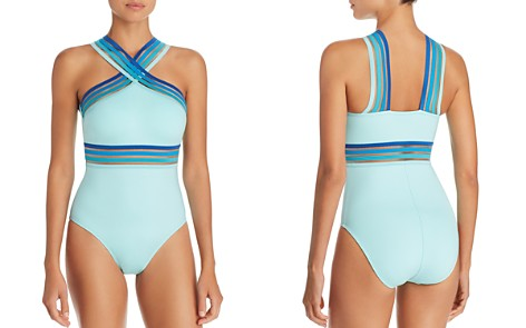 Kenneth Cole Ombré-Trim High Neck One Piece Swimsuit - Bloomingdale's_2