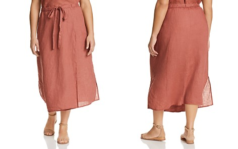 Eileen Fisher Plus Faux Wrap Organic Linen Midi Skirt - Bloomingdale's_2