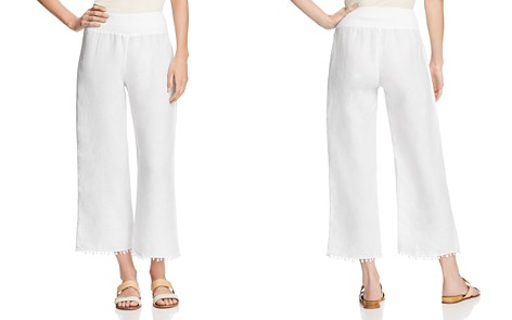 Three Dots Linen Pom-Pom Trimmed Cropped Pants - Bloomingdale's_2