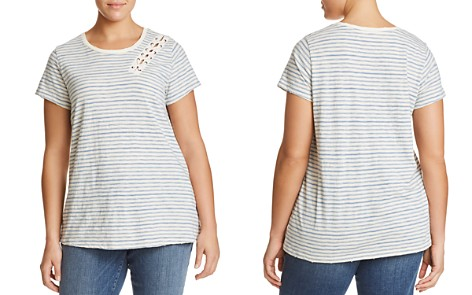 Lucky Brand Plus Striped Lace-Up Tee - Bloomingdale's_2