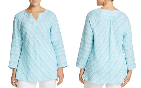 NIC+ZOE Plus Freshwater Striped Linen Top - Bloomingdale's_2