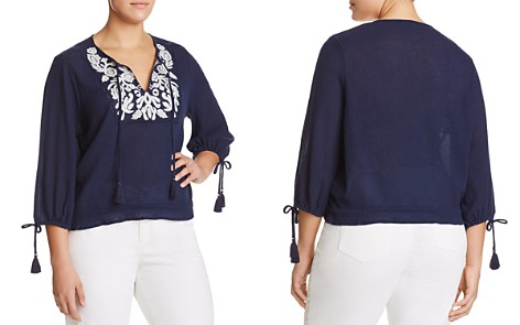 Lucky Brand Plus Embroidered Tassel Top - Bloomingdale's_2
