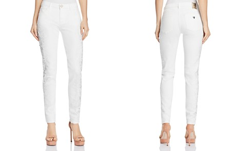 GUESS Sexy Curve Lace-Trimmed Skinny Jeans - Bloomingdale's_2